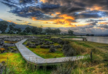 wooden foot path in wetlands hdr - wetland, bench, path, hdr, clouds, lake, wood