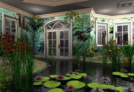 The Greenhouse - cattails, indoor, greenhouse, abstract, door, windows, water, green, lily pads, plants, flowers, nature
