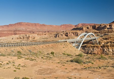 bridge in a desert - highway, river, desert, bridge