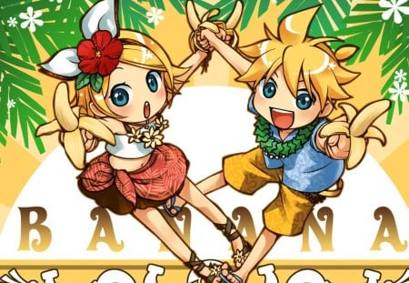 Banana Time!!! - cute, vocaloid, colorful, bananas, blonde, rin and len kagamine