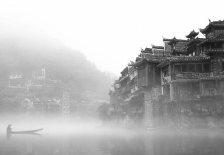 Ancient Chinese Town On A Misty River Houses Architecture
