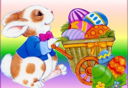 Cute Easter Bunny And Eggs 3d And Cg Abstract Background