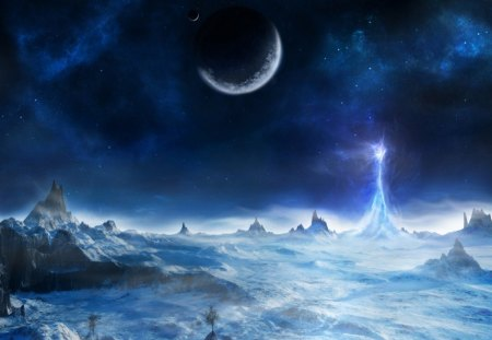 Blue Planet - blue, dark, moon, clouds, fantasy, planet, white, pretty, outerspace