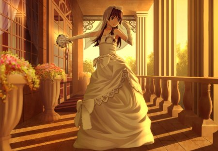 Wedding Vows - pretty, house, veil, shade, floral, pillars, nice, anime, beauty, anime girl, long hair, lovely, gown, sexy, building, cute, railgun, to aru kagaku no railgun, crown, dress, bride, beautiful, elegant, to aru majutsu no index, hot, tiara, wed, gorgeous, night, female, shadow, wedding, girl, bouquet, flower