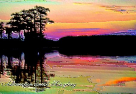 Reflecting Creation - paint, oil, mud, sunset, paste, trees, lake, gold, green, purple, cypress, waterscape, sunrise, reflection, pink, blue