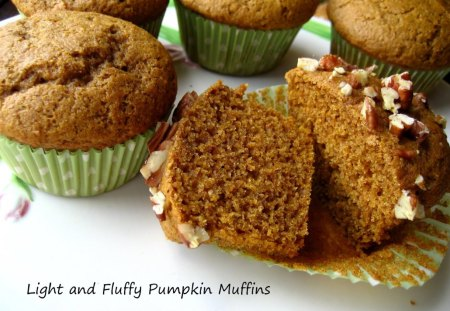 Light and Fluffy Pumpkin Banana Muffins - muffins, delicious, bananas, abstract, sweet, dessert, bakery, wrapper, pumpkin