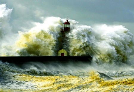 ANGRY MOTHER NATURE - storm, sea, wave, lighthouse