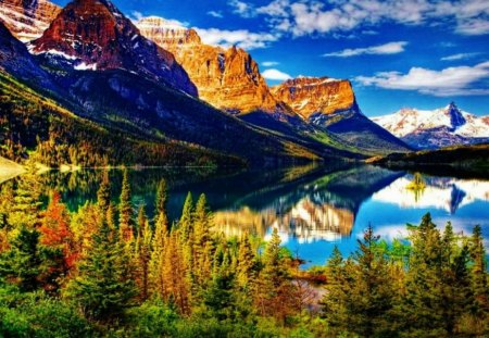 Mountain Valley Lake Reflections - mountains, nature, reflections, trees, lake, valley