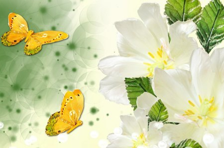 White Flowers Gold Butterflies - fleurs, fragrant, summer, flowers, papillon, spackles, spring, butterflies