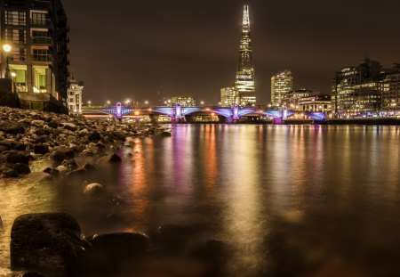 beautiful city bridge on a river at night - river, lights, bridge, city, night, rocks