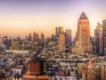 lovely view of manhattan at sunset hdr