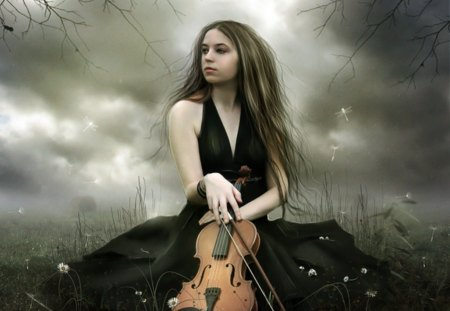 Silent Melodies - fantasy, violin, silent, melodies, lady
