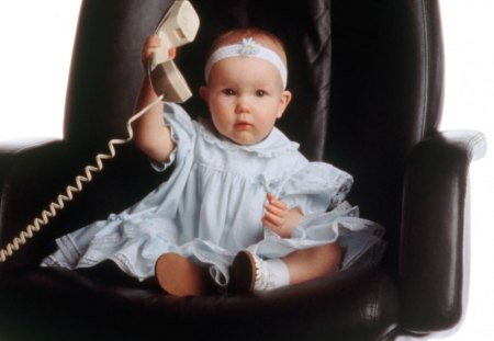 Mommy, It's Daddy - telephone, dress, headband, adorable, big chair, baby