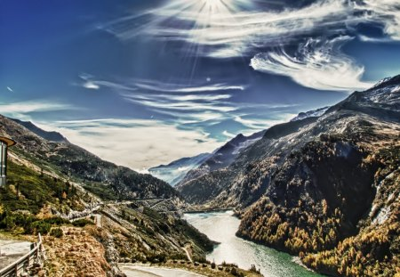 fantastic view of a dam in a valley hdr - valley, river, hdr, clouds, building, mountains, dam