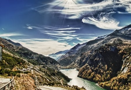 fantastic view of a dam in a valley hdr - dam, valley, clouds, mountains, hdr, river, building