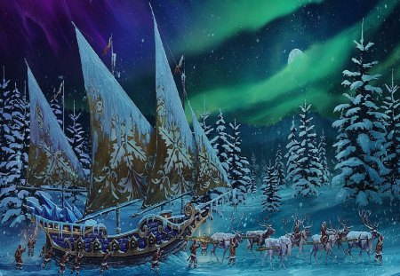 Moving A Ship At Winter Time - Fantasy & Abstract Background