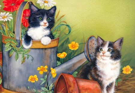 Kittens in the Can (Illustrated) - cute, kittens, flowers, illustrated, kitten, can
