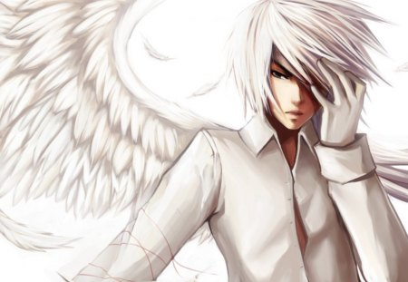 Lucifer - white hair, wings, boy, lucifer, fantasy, angel, male
