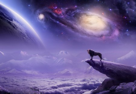 Fantasy world - world, stars, planets, cloud, rock, view, sky, lion, animal, mountain, fantasy, purple, stone, beauty, land, pink