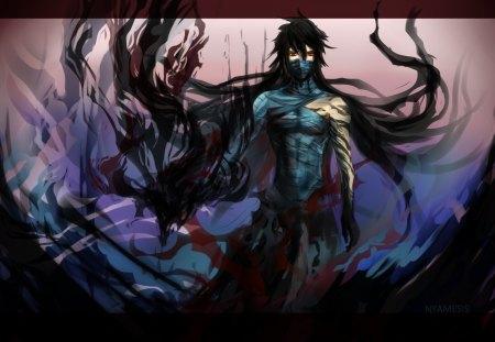 Saigo no Getsuga Tenshou - anime, mugetsu, male, ichigo kurosaki, ichigo, mugetsu ichigo, bleach, kurosaki ichigo, red eyes, black hair