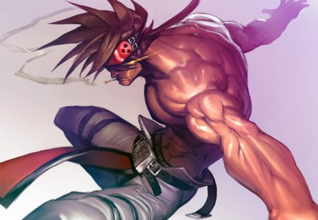 Sol Badguy - games, male, video game, game, shirtless, video games, sol, spiky hair, sol badguy, plain background, guilty gear