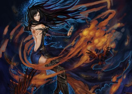Shanoa - games, female, castlevania, shanoa, birds, video game, game, video games, thigh highs, fire, flames, girl, order of ecclesia, blue eyes, long hair
