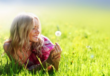 Smile - blond, grass, sunlight, smile, smiling, woman, happy, photography, dandelion, girl, summer, nature, field