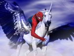 spiderman on a unicorn