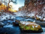 gorgeous stream in winter hdr