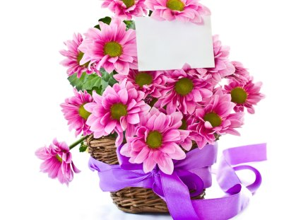 With love - Chrysanthemums, ribbon, mauve, special days, basket, love, flowers, arrangement, pink, harmony