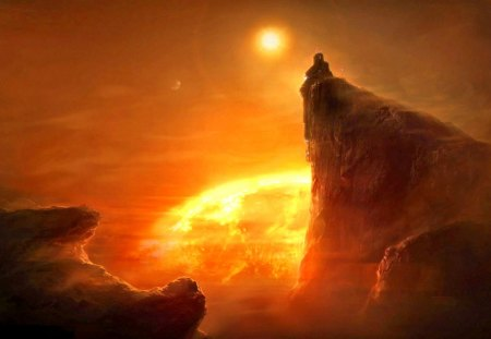 The Last Abbey - sun, fantasy, alien, landscape