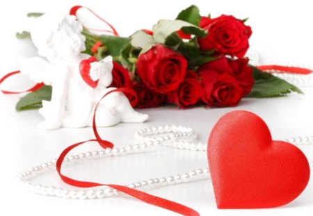 Red Rose And Heart 3d And Cg Abstract Background