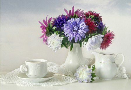 Still Life - colorful, still life, flowers, arrangement, cup of tea, harmony