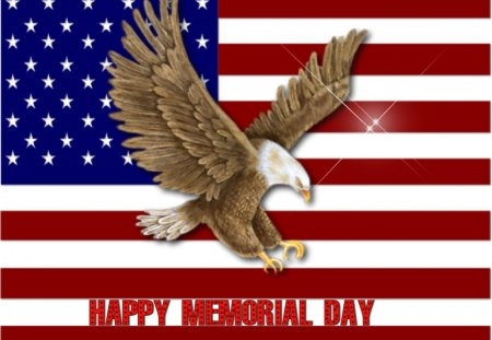 Happy Memorial Day - red, brown, memorial day, united states, veterans, military, america, blue, stars, stripes, eagle, brave, freedom, honor, flag, usa, white