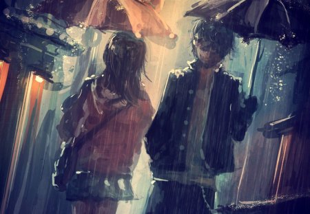 good bye - lovers, freinds, boy, girl, anime, umbrella, rain