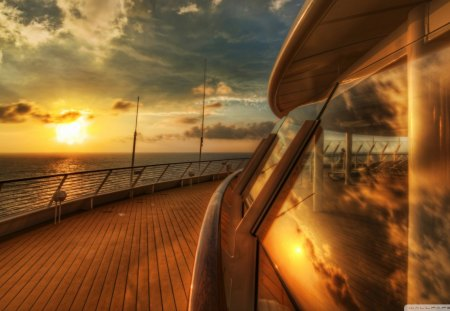 sunset on a cruise ship deck hdr - glass, cruise, ship, hdr, sunset, deck, sea