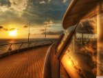 sunset on a cruise ship deck hdr