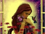 Girl with Humming Bird