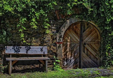 Wood Bench and Doorway - Nature, Doors, Landscapes, Wood Benches