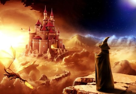 Fantastic World - flames, castle, sky, night, wizard, dragon