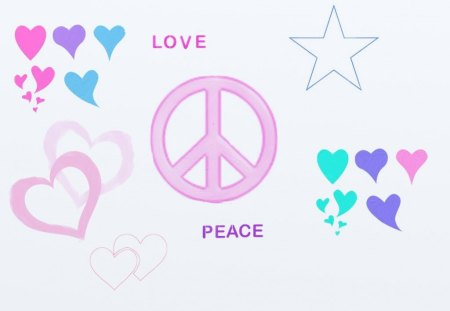 love and peace - hearts, teal, blue, white, peace sign, peace, pink, heart, wallpaper, purple, stars, backgrounds, love