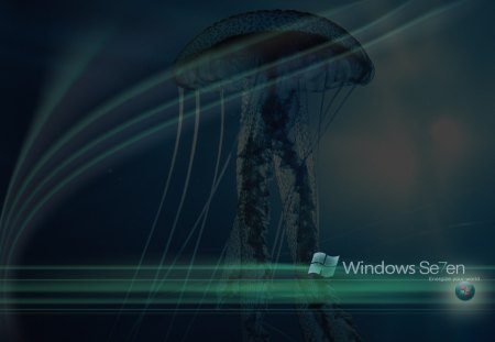 Windows-7-12 - jellyfish, energize your world, colour, windows, windows 7, swirls, lights, logo