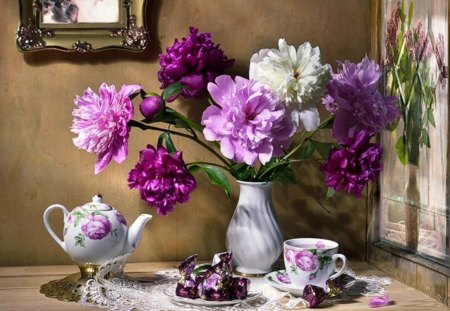 Still life - candy, vase, tea, floral, peonies, still life, flowers, beauty, pink, porcelain, other, scent, spring, abstract, shades, purple, cup, kettle