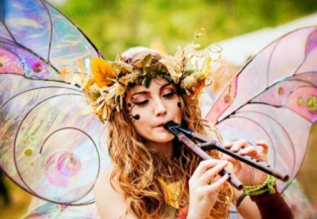 Masquerade - costumes, masquerade, instrument, wings, girl, woman