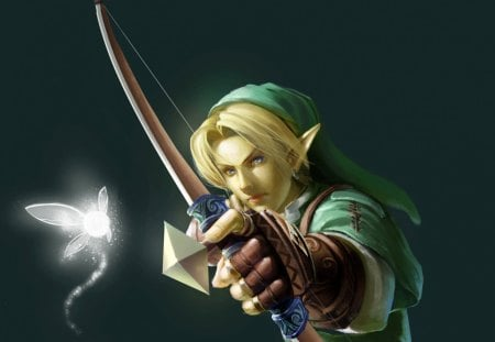 Link - blond, hd, cg, link, guy, video game, game, bow, arrow, bow and arrow, anime, handsome, hot, realistic, archer, fairy, male, legend of zelda, blonde, blonde hair, sexy, blond hair, short hair, cute, boy, 3d, cool, zelda, dark