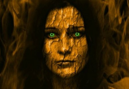 Ancient Beauty - goth, green eye, face, cracks, woman, old
