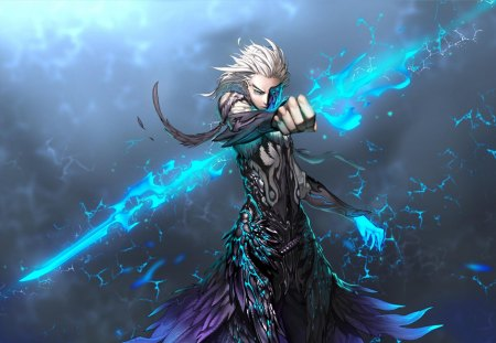 Blade & Soul - games, male, white hair, video game, game, video games, electricity, lightning, grey background, blade and soul, lone, weapon, blue eyes