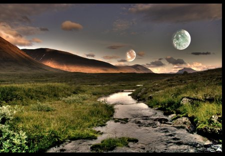 Moons and serenity - moon, space, river, clouds, sky