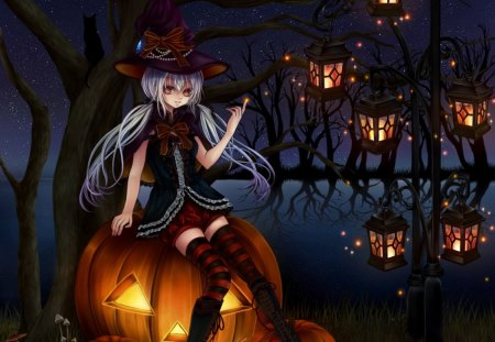Halloween Eve - witch, lantern, halloween, creepy, scare, anime, pumpkin, gloomy, scary, hot, anime girl, long hair, light, night, female, black, sexy, hat, lake, pond, cute, water, girl, dark, branches