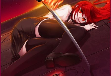 Shana - red eye, hd, cg, redhead, angry, magical girl, flame, blade, anime, hot, anime girl, shakugan no shana, weapon, realistic, long hair, shana, sword, locket, female, lying, mad, red hair, sexy, cute, fire, 3d, girl, blaze, sinister